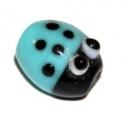 Conta de vidro murano joaninha - Turquoise (15 x 12)