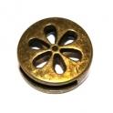 Conta Metal Moeda Flor - Bronze (13 x 2 mm)