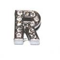 Letra Strass R - Prateada (10 x 2 mm)