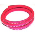 Cabedal Extra-Grosso Fluorescent Fuchsia com Strass Crystal