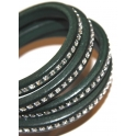 Cabedal Extra-Grosso Dark Green com Strass Crystal