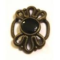 Conta Metal Entremeio Flor Preta - Bronze (10 mm)