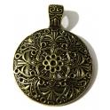 Pendente Metal Redondo Trabalhado - Bronze (45 mm)