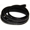 Cabedal Plano c/ Strass - Black (5 mm)