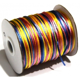 Cordão de seda multi-color (2 mm) - 1 metro