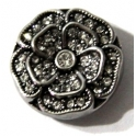 Easy Button Flor Strass Crystal - Prateado (20 mm)