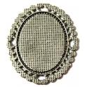 Base Medalha Cabuchon Oval 2 - prateada (40 x 30 mm)