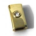 Conta Zamak Tubo c/ Swarovski Crystal - Ouro (10 x 5)