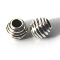 Conta Metal Pipa Riscas - Prateada (3.7 mm)