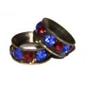 Rondelle strass red / Blue - bronze