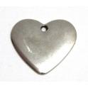 Pendente Zamak Coração Liso - Prata (26 x 30)