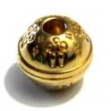 Fecho Zamak Magnético com Flores - Dourado (4 mm)