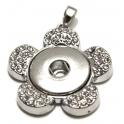 Base Medalhão Easy Button Flor - Prateado