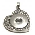 Base Medalhão Easy Button Coração Cristais - Prateado