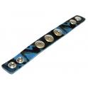 Pulseira Easy Button Cabedal c/ Padrão Leopardo - Blue