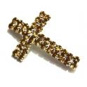 Conta Metal Cruz Strass Gold - Prateada (2 mm)
