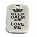 Pendente Zamak Keep Calm and Love Me - Prata (40 x 25)