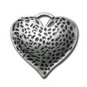 Pendente Zamak Coração Sarapintado - Prata (45 mm)