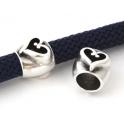 Conta Zamak Tubo Coração Swirl - Prata (10 mm)