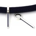 Conta Zamak Pendente Rectangular D. Blue - Prata (10 mm)