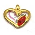 Pendente Zamak Coração Folha Vermelha - Dourado (20 x 21 mm)