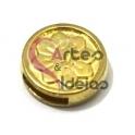 Conta Metal Moeda Pequena Flor - Dourada (10 x 2)