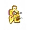 Pendente Zamak Love - Dourado (15 x 10 mm)