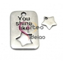"Pendente Zamak ""You Shine Like Star"" - Prata (30 x 19 mm)"
