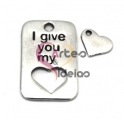 "Pendente Zamak ""I give you my heart"" - Prata (30 x 19 mm)"
