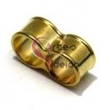 Conta Metal Duplo Furo - Dourado (10 mm)